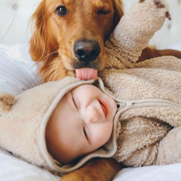 gülümseyen bebek ve köpek resmi